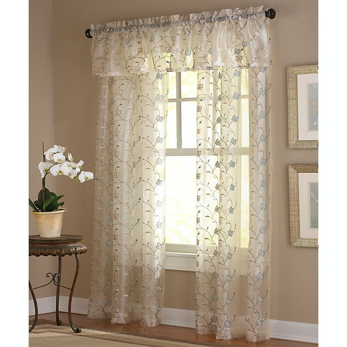 Amberly Embroidered Leaf Rod Pocket Sheer Window Curtain Panel And