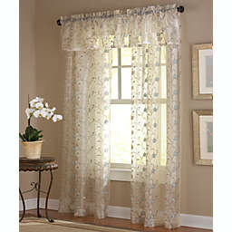 Amberly Embroidered Leaf Rod Pocket Sheer Window Curtain Panel and Valance