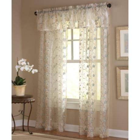 Amberly Embroidered Leaf Rod Pocket Sheer Window Curtain Panel And Valance Bed Bath And Beyond Canada