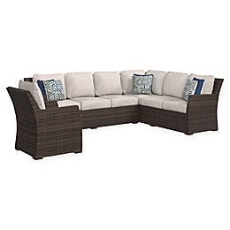 Signature Design By Ashley 3-Piece Salceda L-Shaped Sectional with Nuvella Cushions in Beige/Brown
