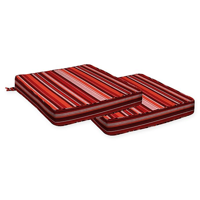 Alternate image 1 for Honeycomb Stripe Dining Seat Cushions in Cardinal Red (Set of 2)
