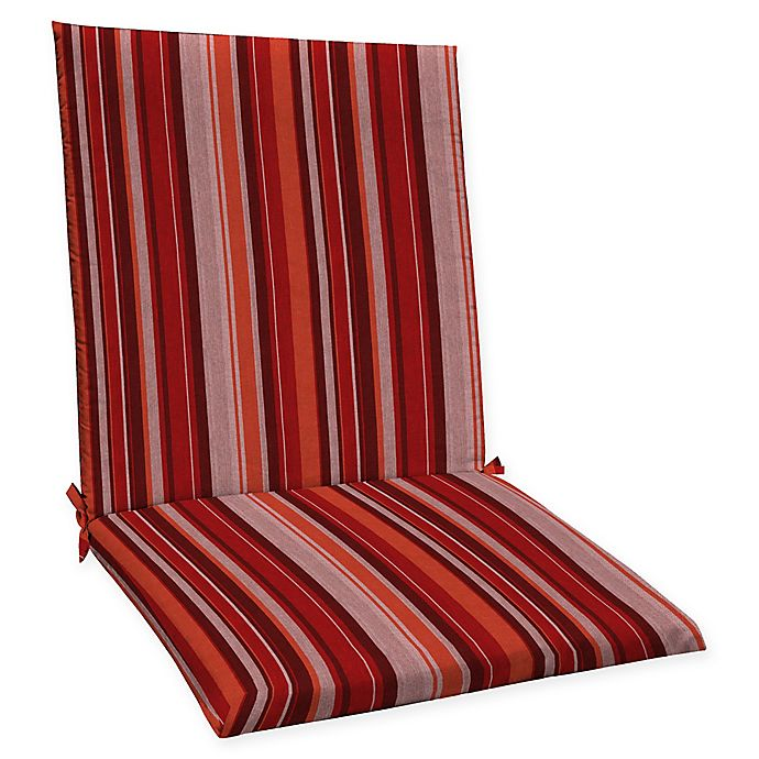 Alternate image 1 for Honeycomb Stripe Outdoor Mid-Back Chair Cushion in Cardinal Red