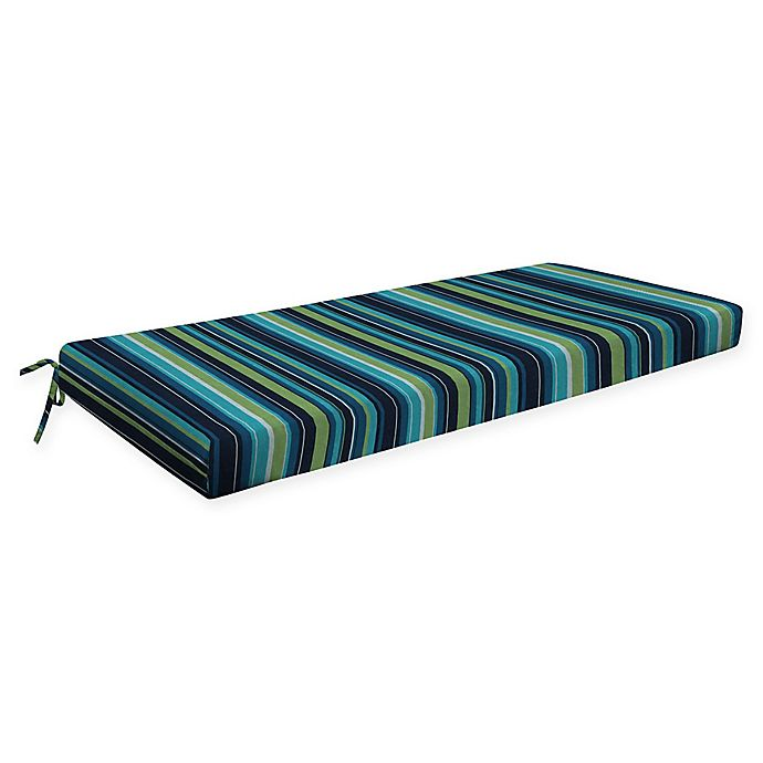 Alternate image 1 for Honeycomb Stripe Outdoor Bench Cushion in Lagoon Blue