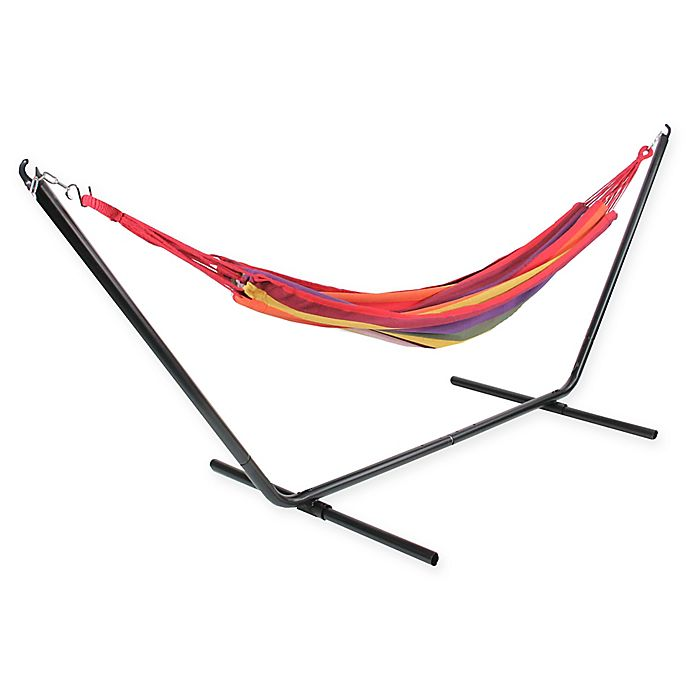 Alternate image 1 for Striped Woven Cotton Single Hammock in Red