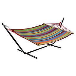 Striped Woven Poly-Cotton Single Hammock