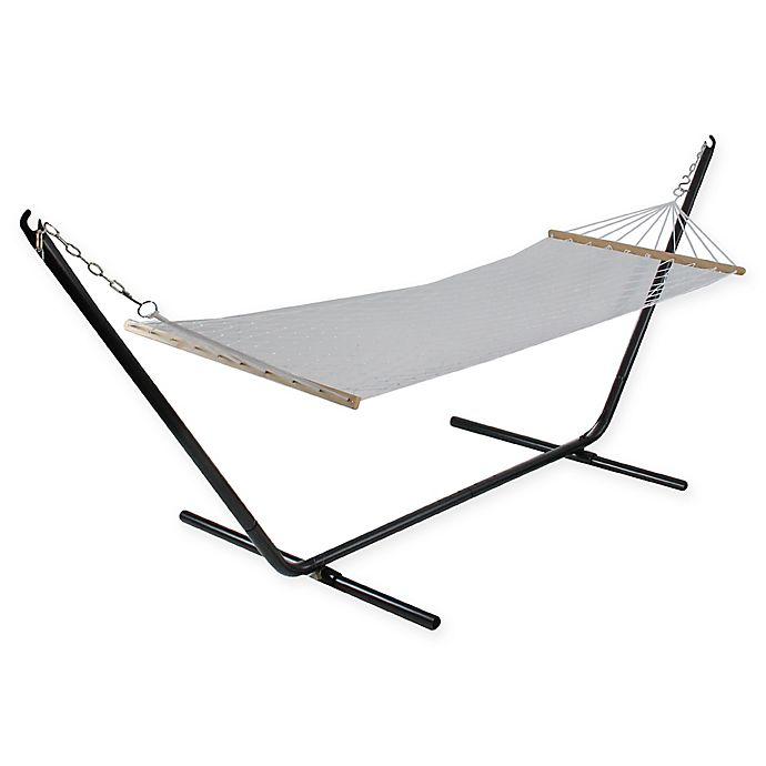 Alternate image 1 for Northlight Lattice Pattern Rope Hammock with Bars in Brown
