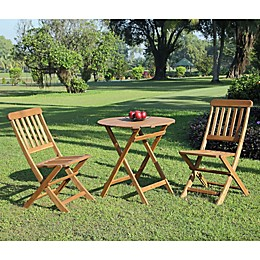 Linon Home Blaise Catalan 3-Piece Outdoor Bistro Set in Teak