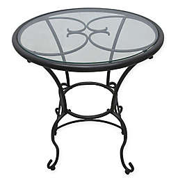 Glass-Top Bistro Table in Brown
