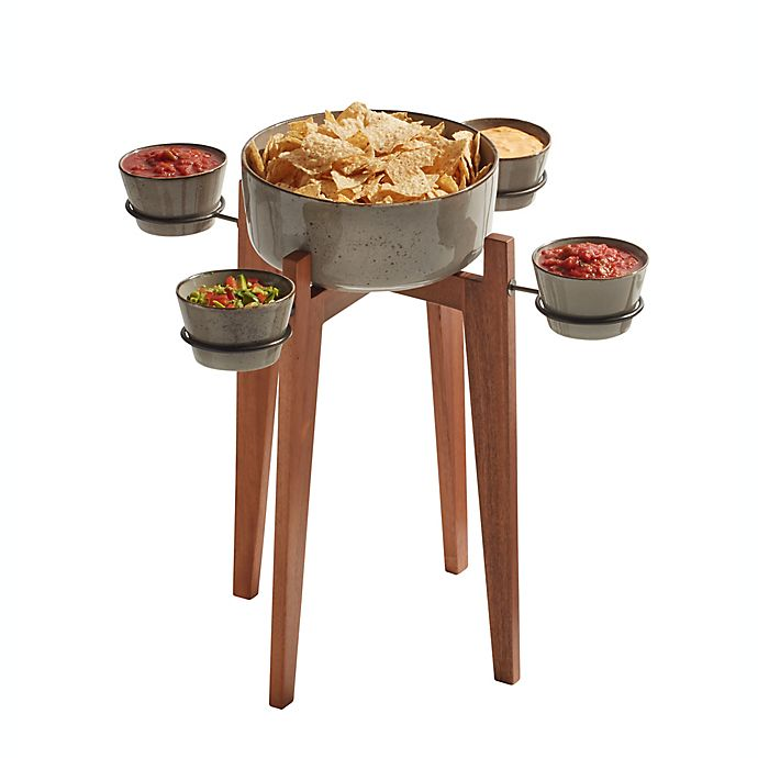 Alternate image 1 for Destination Summer 6-Piece Langley Chip and Dip Serving Side Table in Grey