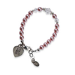 Cherished Moments Lil Sis Small Sterling Silver Bracelet in Pink