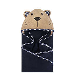 Hudson Baby® Plaid Bear Hooded Towel in Brown