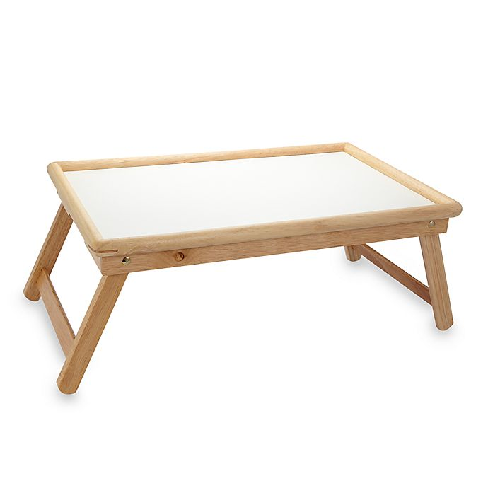 Alternate image 1 for Beechwood Folding Bed Tray With White Laminate Top