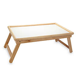 Beechwood Folding Bed Tray With White Laminate Top