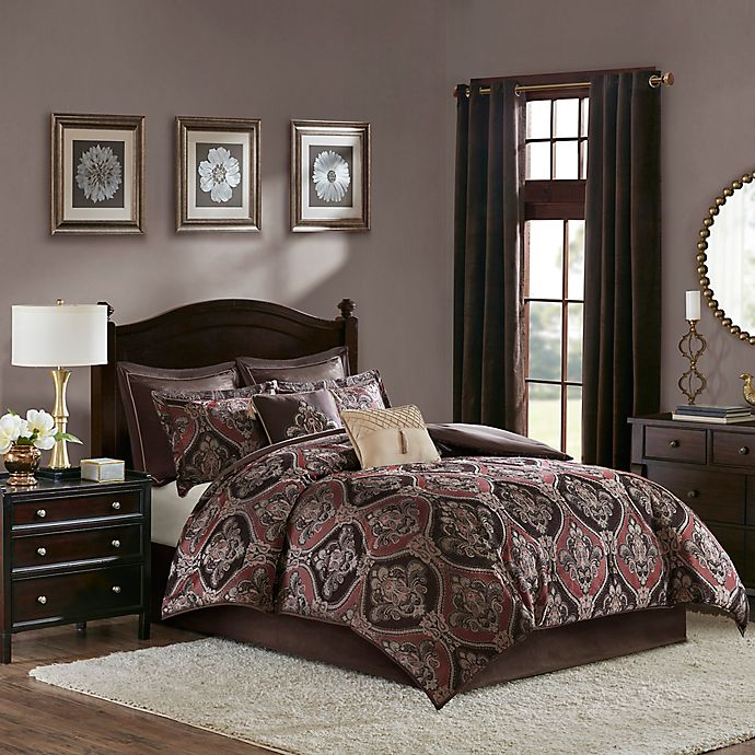 Alternate image 1 for Madison Park Ingrid 8-Piece Queen Comforter Set in Red