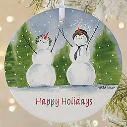 Snow Family 1-Sided Matte Christmas Ornament