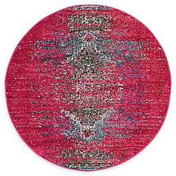 Unique Loom Warhol Arte 4' Round Accent Rug in Pink