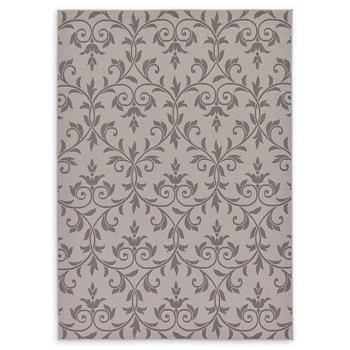 Alternate image 1 for Unique Loom Victorian Outdoor 7' X 10' Powerloomed Area Rug in Gray