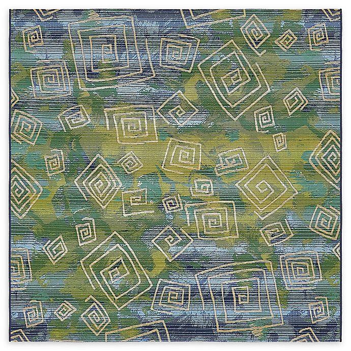 Alternate image 1 for Unique Loom Vortex Eden Outdoor 6' X 6' Powerloomed Area Rug in Blue