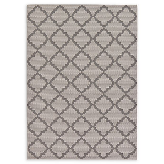 Alternate image 1 for Unique Loom Trellis Outdoor 7' X 10' Powerloomed Area Rug in Gray