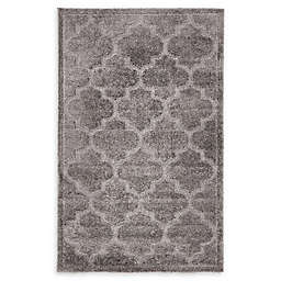 Unique Loom Traditional Trellis Shag Powerloomed Rug in Dark Grey