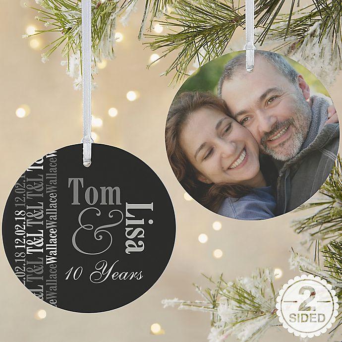 Alternate image 1 for Anniversary Memories 2-Sided Matte Christmas Ornament