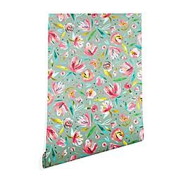 Deny Designs Ninola Design Green Peonies Floral Peel and Stick Wallpaper