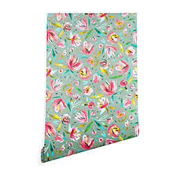 Deny Designs Ninola Design Green Peonies Floral Peel and Stick Wallpaper