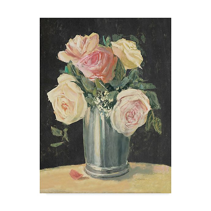 Alternate image 1 for Trademark Fine Art Carol Rowan Silver Vase I On Black 24-Inch x 32-Inch Canvas Wall Art