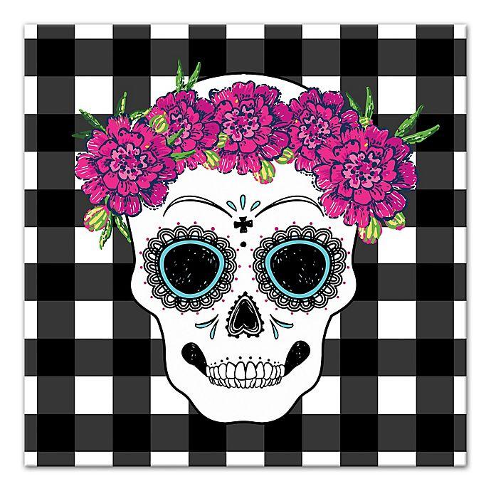 Designs Direct Sugar Skull Buffalo Check 16 Inch Square Canvas Wall Art Bed Bath Beyond