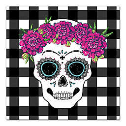 Designs Direct Sugar Skull Buffalo Check 16-Inch Square Canvas Wall Art