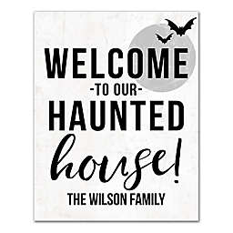 """Designs Direct """"Welcome to Our Haunted House"""" 11-Inch x 14-Inch Canvas Wall Art"""
