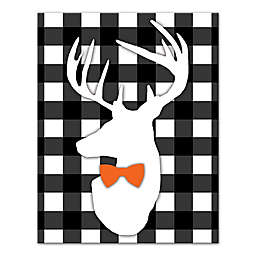 Designs Direct Halloween Deer Buffalo Check 11-Inch x 14-Inch Canvas Wall Art