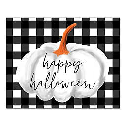 "Designs Direct ""Happy Halloween"" Buffalo Check 16-Inch x 20-Inch Canvas Wall Art"