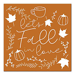 "Designs Direct ""Let's Fall in Love"" 12-Inch Square Canvas Wall Art"