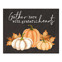 "Designs Direct ""Gather Here Grateful Hearts"" 16-Inch x 20-Inch Canvas Wall Art"