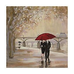 Trademark Fine Art Romantic Paris III Red Umbrella 35-Inch x 35-Inch Canvas Wall Art