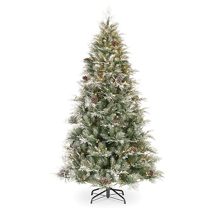Alternate image 1 for National Tree Company 7.5-Foot Pre-Lit Frosted Mountain Spruce Artificial Christmas Tree