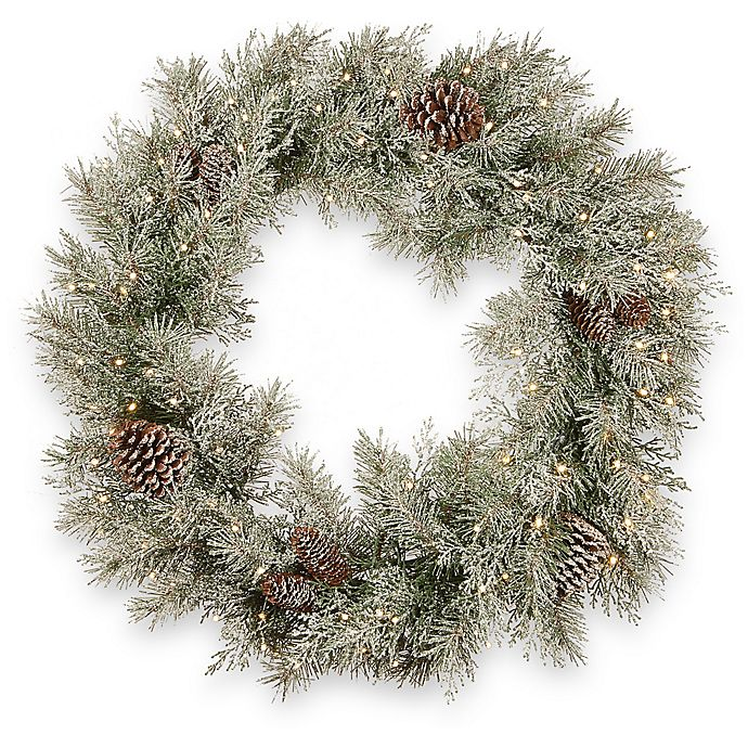 Alternate image 1 for National Tree Company 30-Inch Pre-Lit Frosted Mountain Spruce Artificial Christmas Wreath