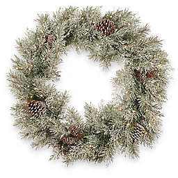 National Tree Company 30-Inch Pre-Lit Frosted Mountain Spruce Artificial Christmas Wreath