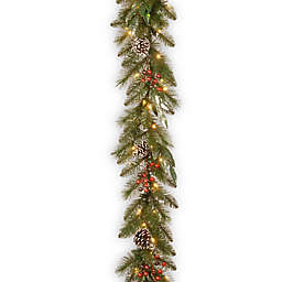 National Tree Company 108-Inch Frosted Pine Berry Pre-Lit Artificial Christmas Garland