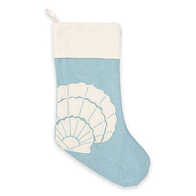 Scallop Shell Christmas Stocking in Blue