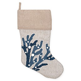 19-Inch Coral Reef Christmas Stocking in Indigo