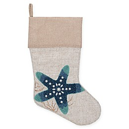 19-Inch Starfish Christmas Stocking in Indigo