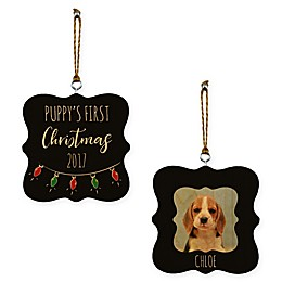 """Designs Direct """"Puppy's First Christmas"""" Whimsical 2-Sided Wood Ornament"""