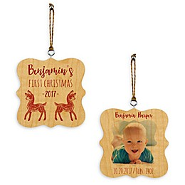 Designs Direct Baby's 1st Christmas Reidneer Whimsical 2-Sided Wood Ornament