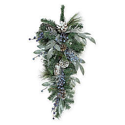 Northlight® 28-Inch Mixed Pine, Blueberries & Snowy Pinecones Artificial Swag
