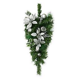 Northlight 32-Inch Artificial Poinsettia Pine Teardrop in Green/Silver