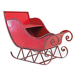 14-Inch Traditional Santa's Sleigh Centerpiece in Red