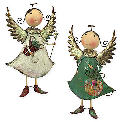 Design Toscano Holiday Helpers Metal Angel Statues (Set of 2)