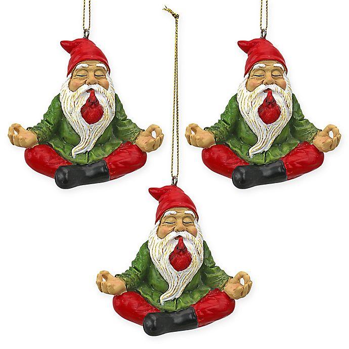 Alternate image 1 for Design Toscano Zen Gnome Holiday Ornament (Set of 3)